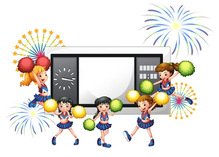 scoreboard timer: Illustration of the cheerdancers with a scoreboard at the back on a white background