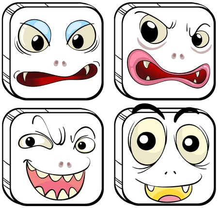 Illustration of the different facial expressions on a white background Stock Vector - 18980997