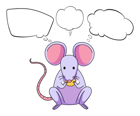 Illustration of a mouse eating cheese with empty callouts on a white background Vector