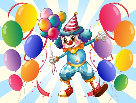 Illustration of a group of balloons with a circus clown Vector