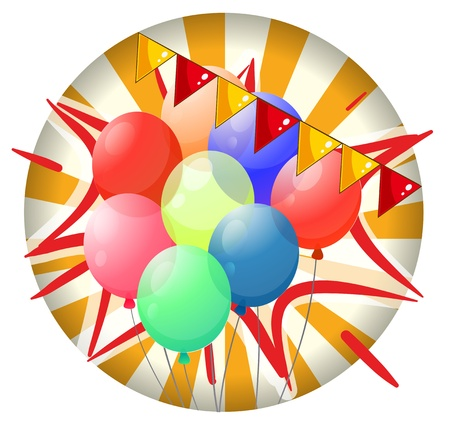 spinning wheel: Illustration of the balloons inside the spinning wheel on a white background Illustration