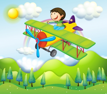 Illustration of a young man riding in a colorful plane Vector