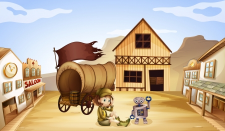 Illustration of a robot and a girl beside a wagon Stock Vector - 18981285