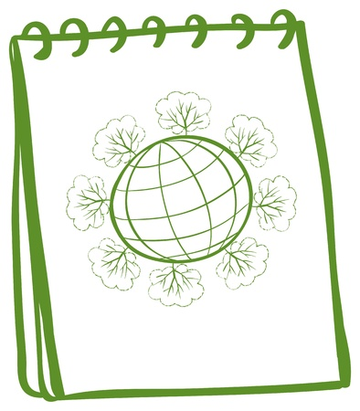 Illustration of a notebook with a sketch of a globe on a white background Vector