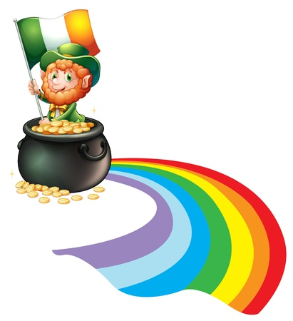 feast of saint patrick: Illustration of a man inside a pot of gold coins holding flag on a white backround Illustration