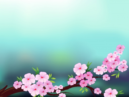 pinkish: Illustration of a stationery with cherry blossom flowers