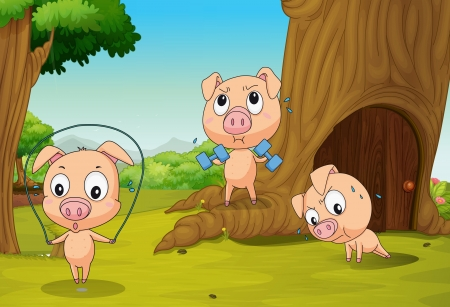 Illustration of the three pigs at the forest