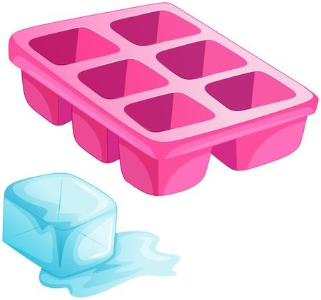 bandejas: Ilustraci�n de una bandeja de hielo de color rosa sobre fondo blanco Vectores