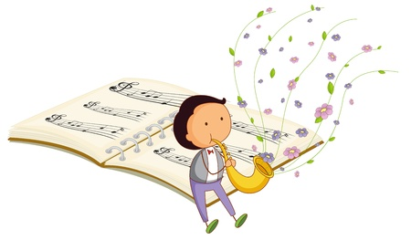 composer: Illustration of a boy with a trumpet and a music book at the back on a white background