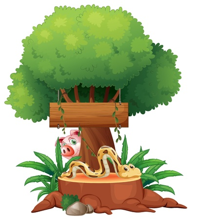 Illustration of a snake with a wooden signboard and a pig at the back on a white background Stock Vector - 18981218