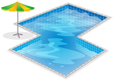 swimming pool: Illustration of a swimming pool with a beach umbrella on a white background Illustration
