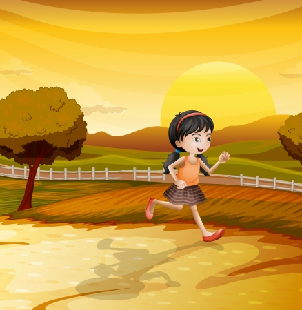 girl shadow: Illustration of a girl running along the field