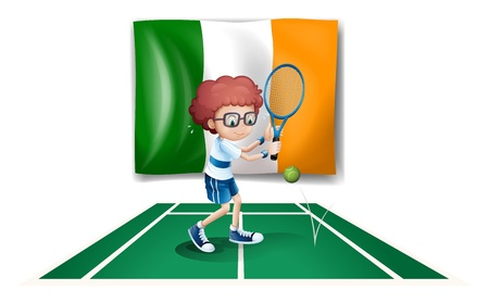 ireland flag: Illustration of a boy playing tennis in front of the Ireland flag on a white background Illustration