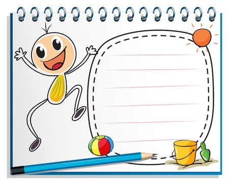 Illustration of a notebook with a drawing of a child jumping Vector