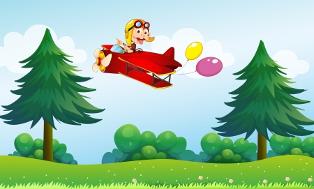 boastful: Illustration of a monkey riding in an aircarft with two balloons