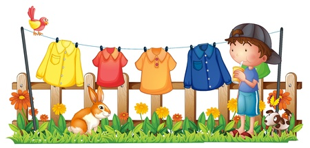 dry clean: Illustration of a boy drinking in the garden with hanging clothes on a white background