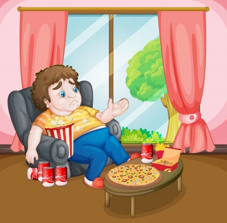 thick: Illustration of a fat boy with lots of foods
