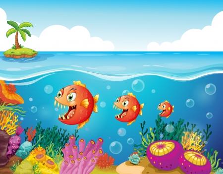 Illustration d'un banc de poissons près des récifs coralliens