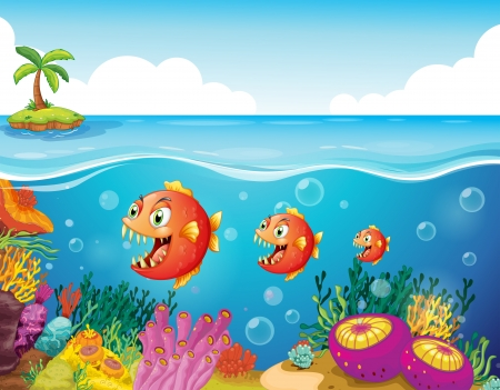 seafoods: Illustration of a school of fish near the coral reefs