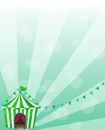 school carnival: Illustartion of a green circus tent in a wallpaper design