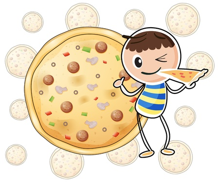 seafoods: Illustration of a boy with a slice of pizza on a white background