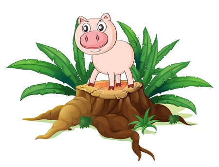 cut logs: Illustration of a pig above a trunk on a white background Illustration