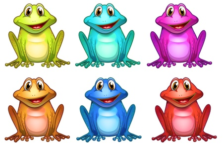 violet red: Illustration of the six different colors of frogs on a white background
