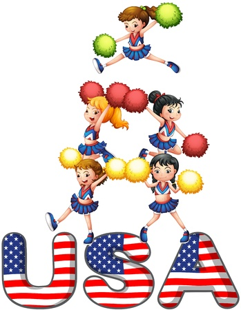 squad: Illustration of the USA cheering squad on a white background