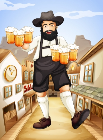establishments: Illustration of a waiter with glasses of cold beers
