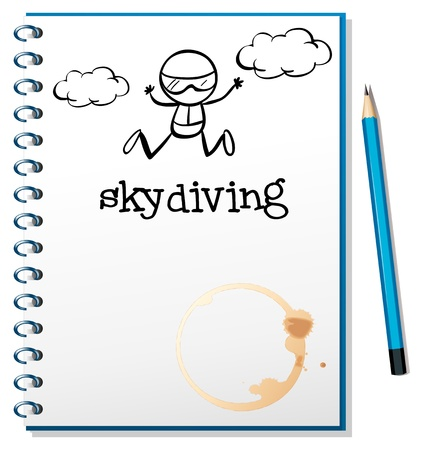Illustration of a notebook with an image of a person skydiving on a white background Vector