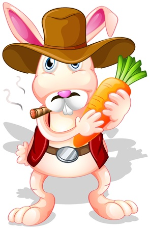 rootcrops: Illustration of a rabbit holding a carrot with a hat and a cigarette on a white background