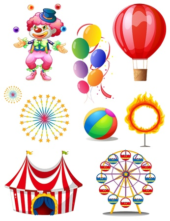 Illustration of a clown playing balls with different circus stuffs on a white background Vector