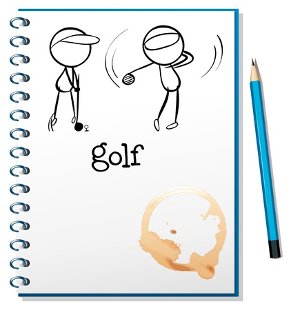 notebook paper background: Illusration of a notebook with a sketch of two people playing golf on a white background Illustration