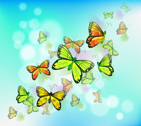 Illustration of a blue colored stationery with butterflies Vector