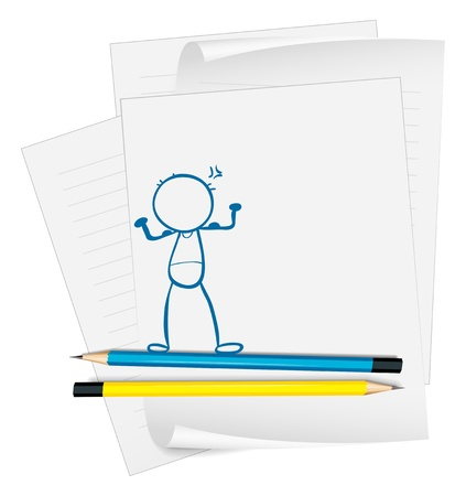 Illustration of a paper with a drawing of a boy standing on a white background Stock Vector - 18983326