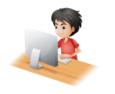 typing on keyboard: Illustration of a young boy using the computer on a white background