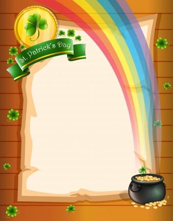 feast of saint patrick: Illustration of a paper with St. Patricks symbols Illustration