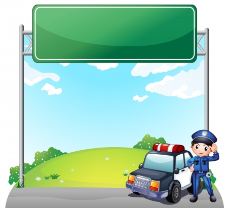 public servants: Illustration of a young policeman with his police car near an empty signage on a white background