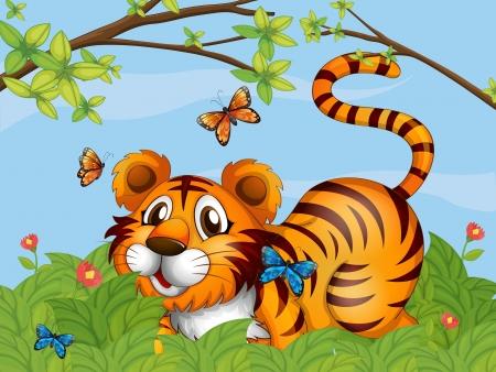 mariposas amarillas: Ilustración de un tigre con las mariposas en el jardín Vectores