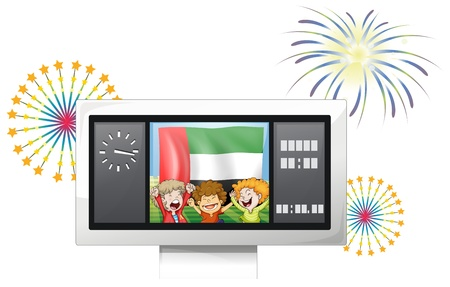 scoreboard timer: Illustration of the UAE flag and kids inside the timeboard on a white background Illustration