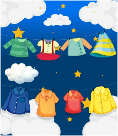 Illustration of the different hanging clothes Vector