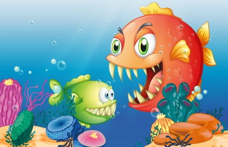 Illustration of the different sea creatures Vector