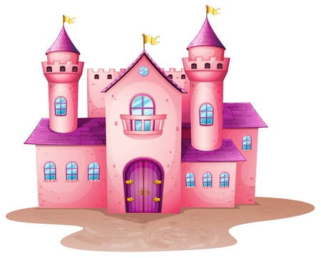 wooden window: Illustration of a pink colored castle Illustration