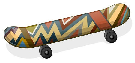 Illustration of a skateboard with a paint on a white background Stock Vector - 18983329
