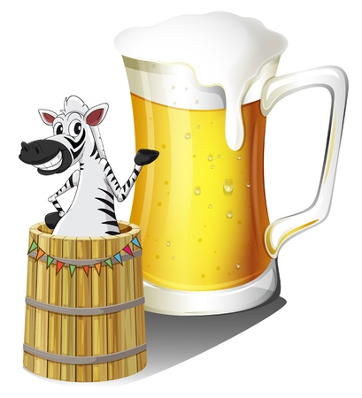 overflow: Illustration of a zebra inside a wooden container with a glass of beer at the back on a white background Illustration