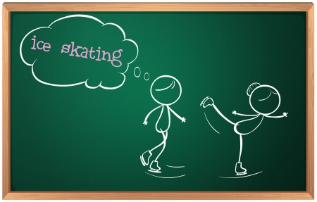 Illustration of a blackboard with a drawing of two people ice skating on a white background Vector