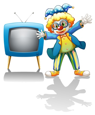 energized: Illustration of a clown beside a blue television on a white background