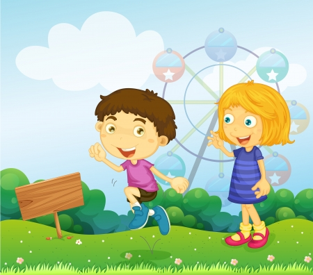 Illustration of a boy and a girl playing near an empty signboard