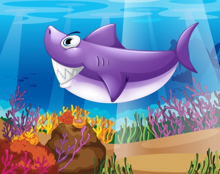 Illustration of a shark smiling at the bottom of the sea Stock Vector - 18983729