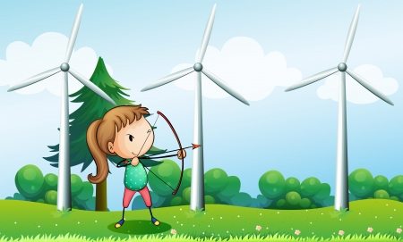 steel mill: Illustration of a girl with an archer near the windmills Illustration